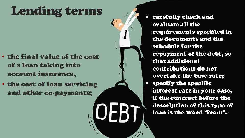 Lending terms • the final value of the cost of a loan taking into