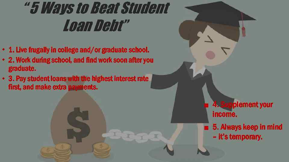 """"""" 5 Ways to Beat Student Loan Debt"""" • 1. Live frugally in college"""