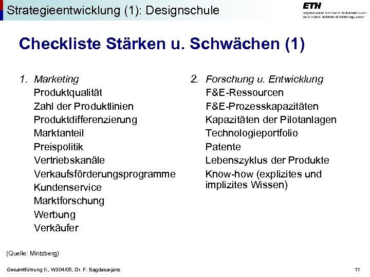 Strategieentwicklung (1): Designschule Checkliste Stärken u. Schwächen (1) 1. Marketing Produktqualität Zahl der Produktlinien