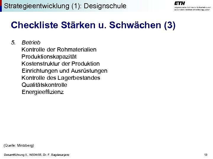 Strategieentwicklung (1): Designschule Checkliste Stärken u. Schwächen (3) 5. Betrieb Kontrolle der Rohmaterialien Produktionskapazität