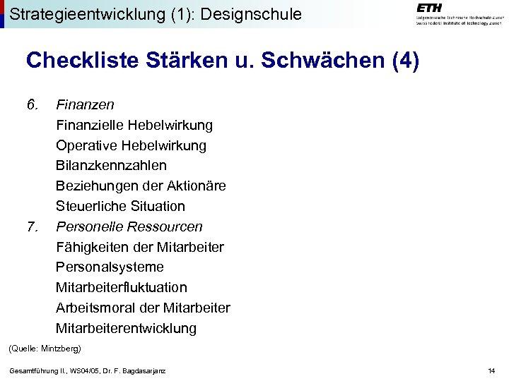 Strategieentwicklung (1): Designschule Checkliste Stärken u. Schwächen (4) 6. 7. Finanzen Finanzielle Hebelwirkung Operative