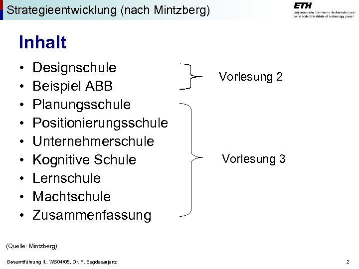 Strategieentwicklung (nach Mintzberg) Inhalt • • • Designschule Beispiel ABB Planungsschule Positionierungsschule Unternehmerschule Kognitive