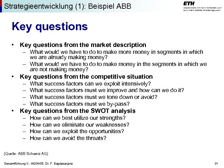 Strategieentwicklung (1): Beispiel ABB Key questions • Key questions from the market description –