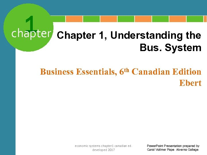1 Chapter 1, Understanding the chapter Bus. System Business Essentials, 6 th Canadian Edition