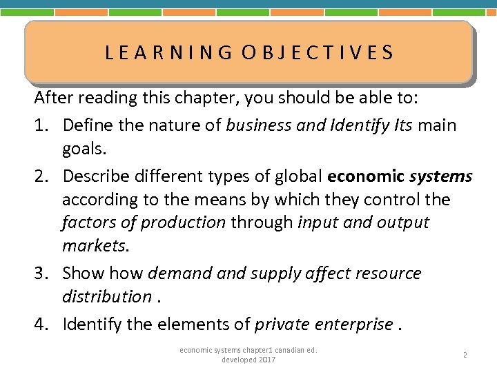 LEARNING OBJECTIVES After reading this chapter, you should be able to: 1. Define the