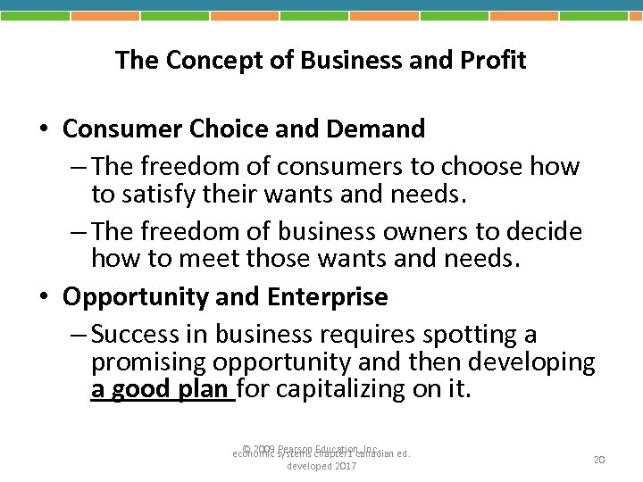 The Concept of Business and Profit • Consumer Choice and Demand – The freedom