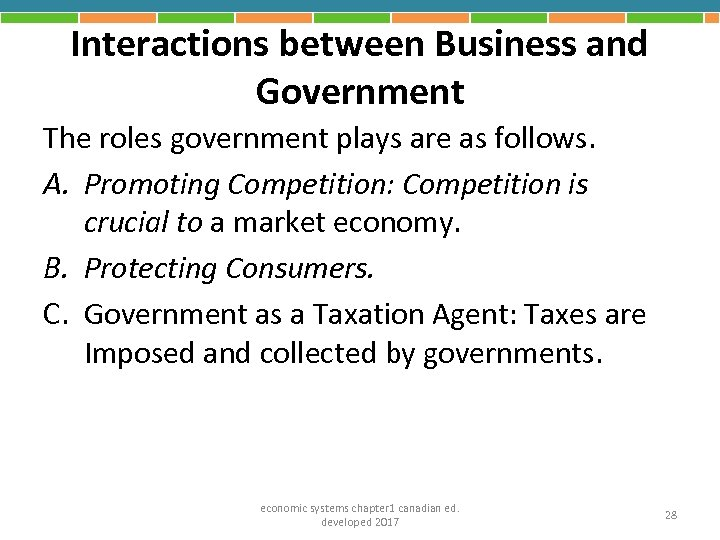 Interactions between Business and Government The roles government plays are as follows. A. Promoting