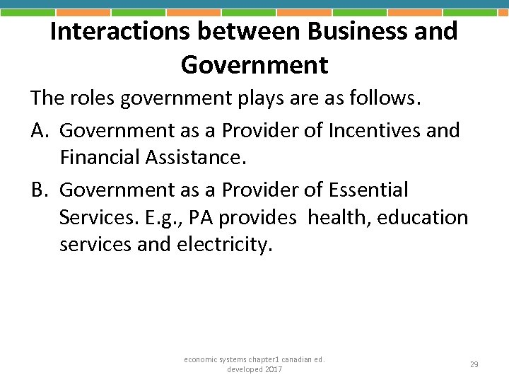 Interactions between Business and Government The roles government plays are as follows. A. Government