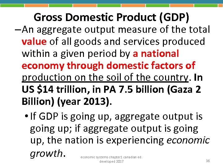 Gross Domestic Product (GDP) – An aggregate output measure of the total value of