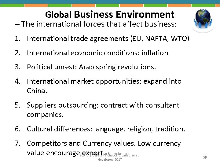 Global Business Environment – The international forces that affect business: 1. International trade agreements