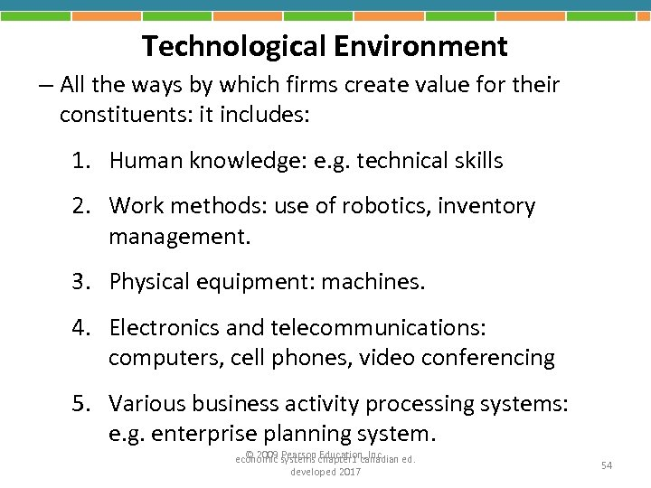 Technological Environment – All the ways by which firms create value for their constituents: