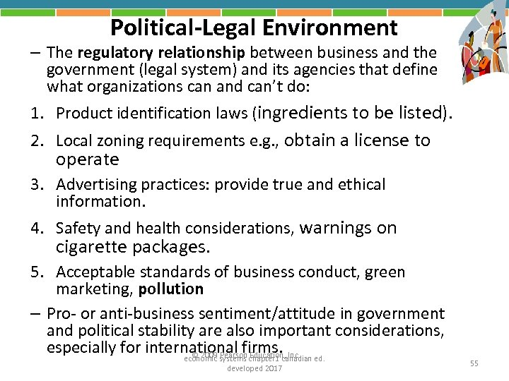 Political-Legal Environment – The regulatory relationship between business and the government (legal system) and