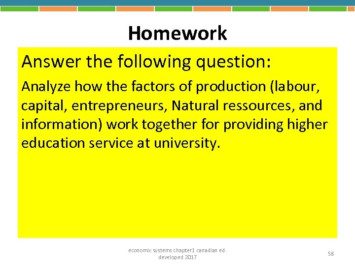 Homework Answer the following question: Analyze how the factors of production (labour, capital, entrepreneurs,