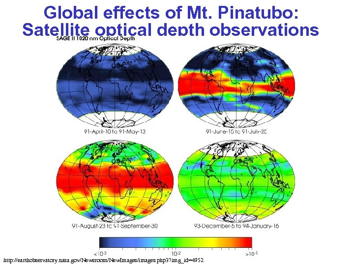 Global effects of Mt. Pinatubo: Satellite optical depth observations http: //earthobservatory. nasa. gov/Newsroom/New. Images/images.