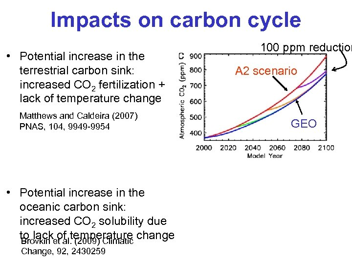 Impacts on carbon cycle • Potential increase in the terrestrial carbon sink: increased CO