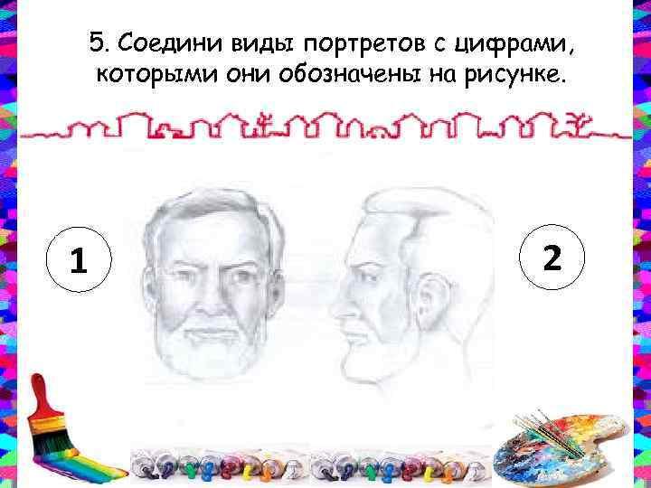 5. Соедини виды портретов с цифрами, которыми они обозначены на рисунке. 1 2
