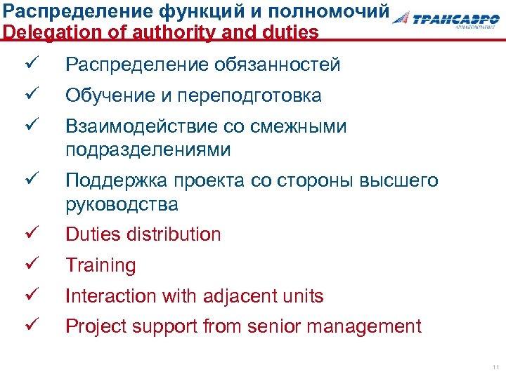 Распределение функций и полномочий Delegation of authority and duties ü Распределение обязанностей ü Обучение