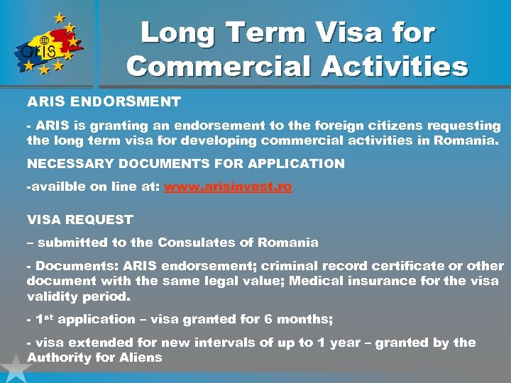 Long Term Visa for Commercial Activities ARIS ENDORSMENT - ARIS is granting an endorsement