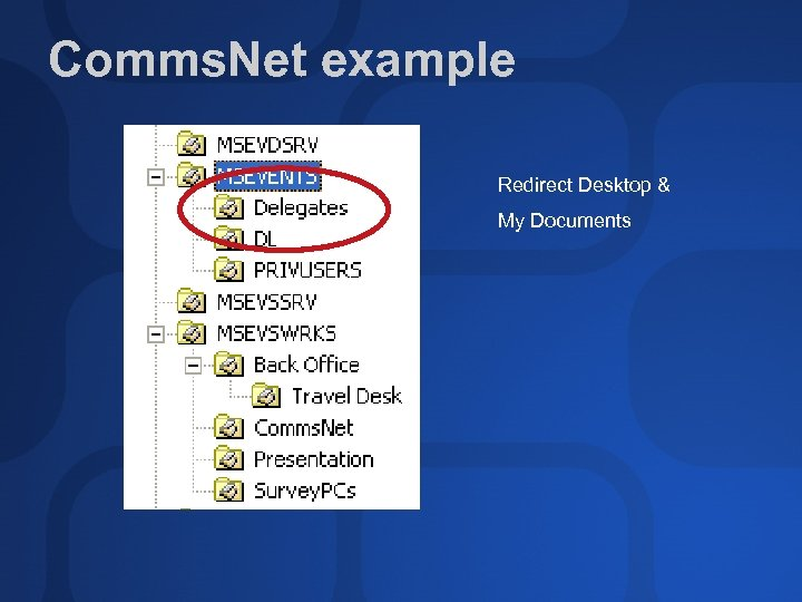 Comms. Net example Redirect Desktop & My Documents