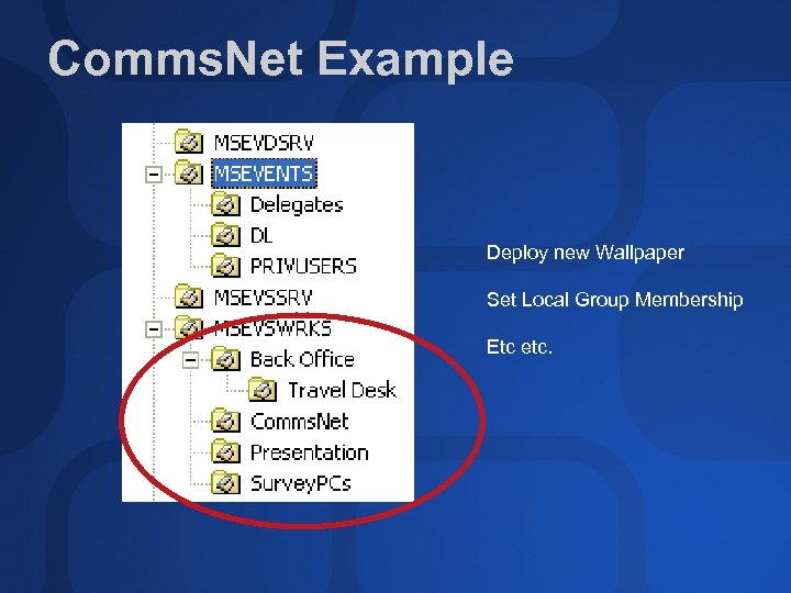 Comms. Net Example Deploy new Wallpaper Set Local Group Membership Etc etc.
