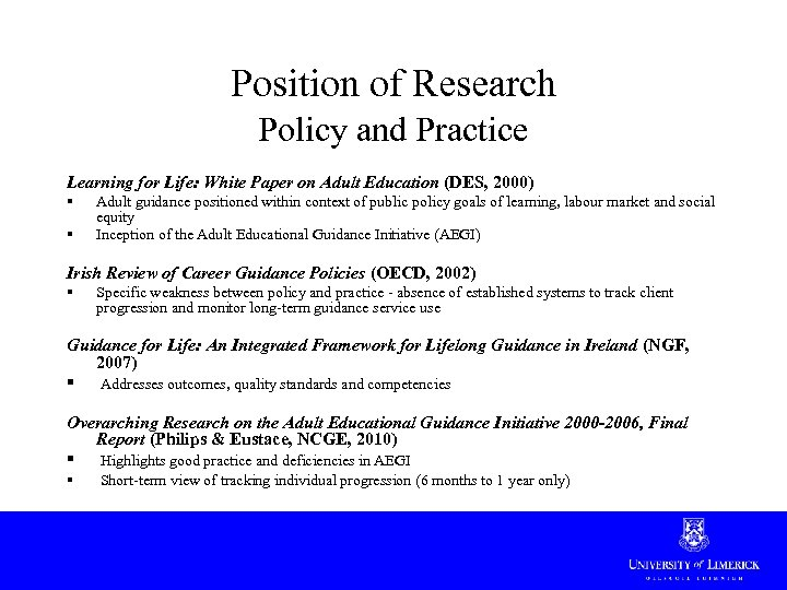 Position of Research Policy and Practice Learning for Life: White Paper on Adult Education