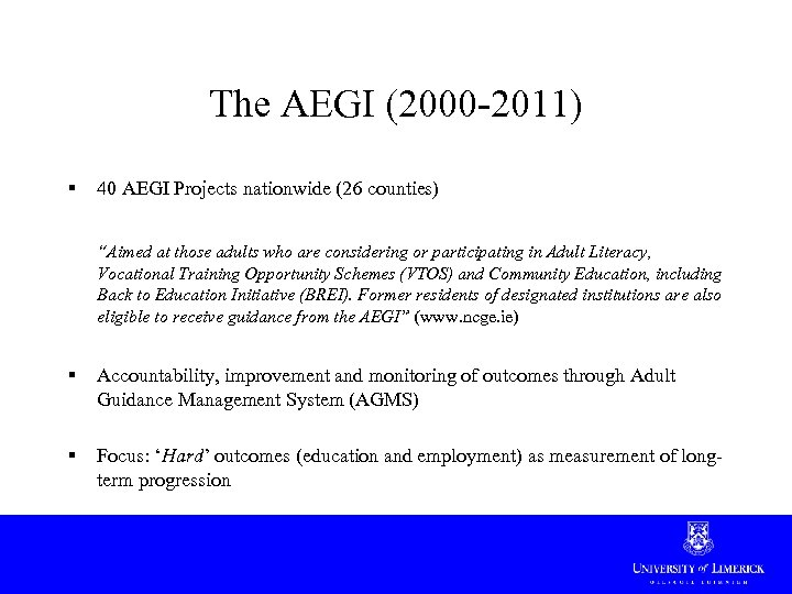 """The AEGI (2000 -2011) § 40 AEGI Projects nationwide (26 counties) """"Aimed at those"""