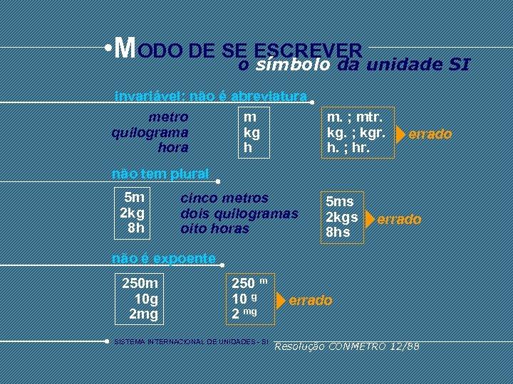 • MODO DE SE ESCREVER unidade SI o símbolo da invariável: não é