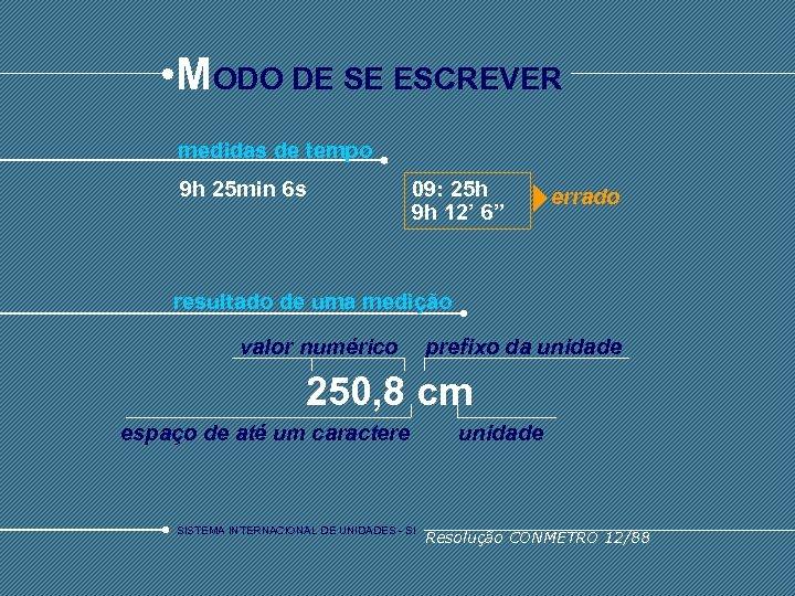 • MODO DE SE ESCREVER medidas de tempo 9 h 25 min 6