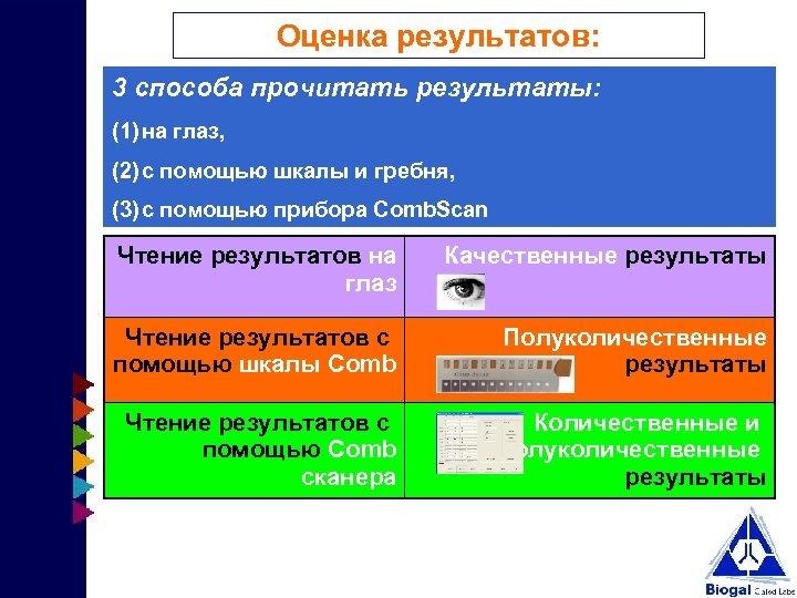 Оценка результатов: 3 способа прочитать результаты: (1) на глаз, (2) с помощью шкалы и