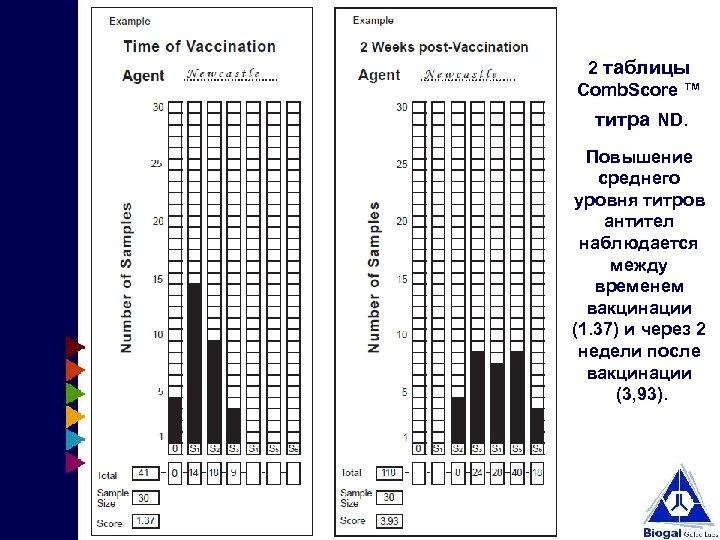 2 таблицы Comb. Score ™ титра ND. Повышение среднего уровня титров антител наблюдается между