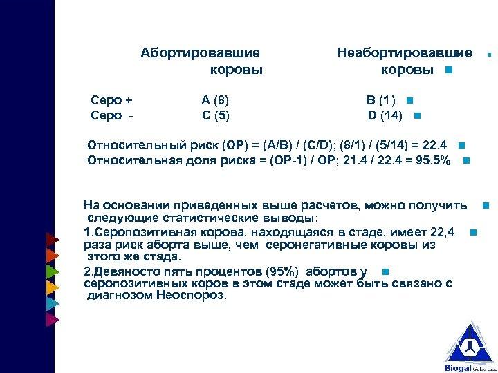 Абортировавшие Неабортировавшие коровы Серо + А (8) В (1 ) Серо - С (5)