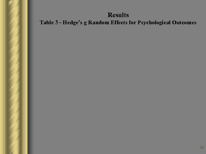 Results Table 3 - Hedge's g Random Effects for Psychological Outcomes 11