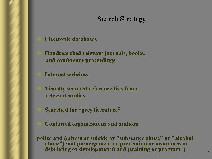 Search Strategy l Electronic databases l Handsearched relevant journals, books, and conference proceedings l