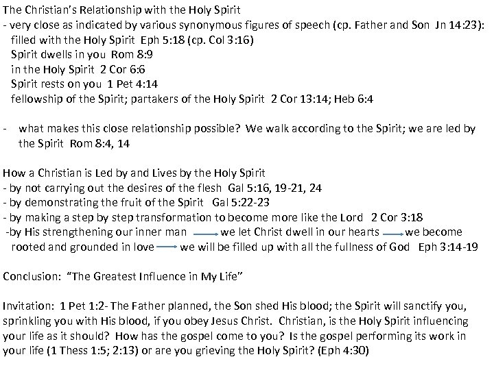 The Christian's Relationship with the Holy Spirit - very close as indicated by various