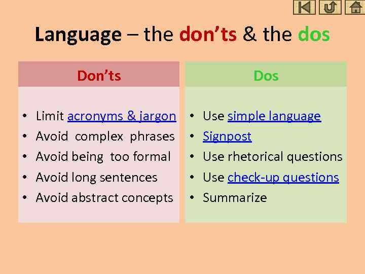 Language – the don'ts & the dos Don'ts • • • Limit acronyms &