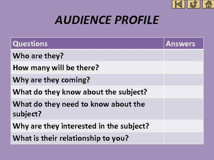 AUDIENCE PROFILE Questions Who are they? How many will be there? Why are they