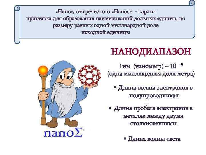 «Нано» , от греческого «Нанос» - карлик приставка для образования наименований дольных единиц,