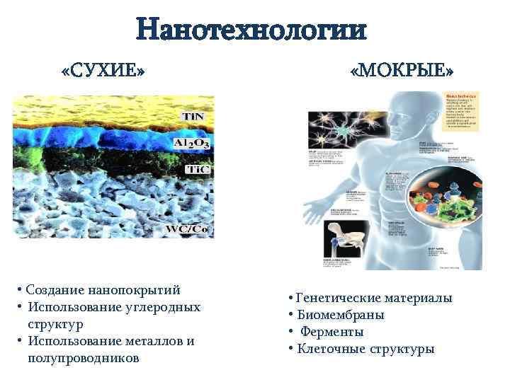 Нанотехнологии «СУХИЕ» • Создание нанопокрытий • Использование углеродных структур • Использование металлов и полупроводников