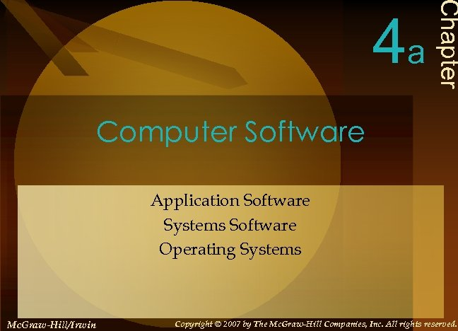 Chapter 4 a Computer Software Application Software Systems Software Operating Systems Mc. Graw-Hill/Irwin Copyright