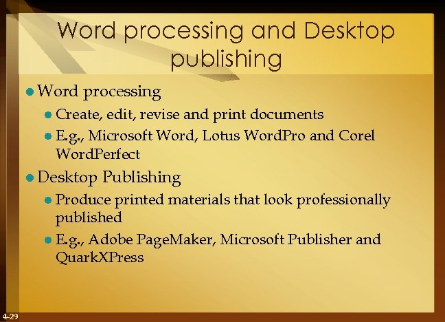 Word processing and Desktop publishing l Word processing l Create, edit, revise and print