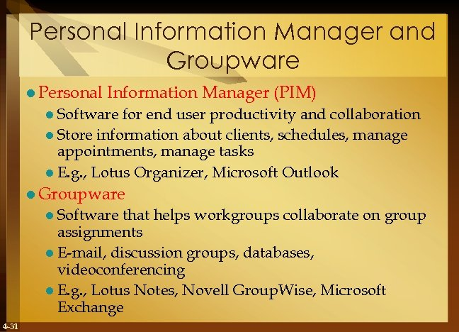 Personal Information Manager and Groupware l Personal Information Manager (PIM) l Software for end