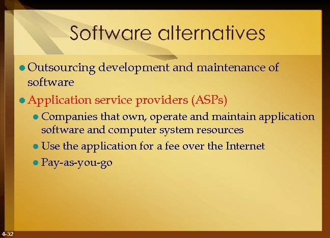 Software alternatives l Outsourcing development and maintenance of software l Application service providers (ASPs)
