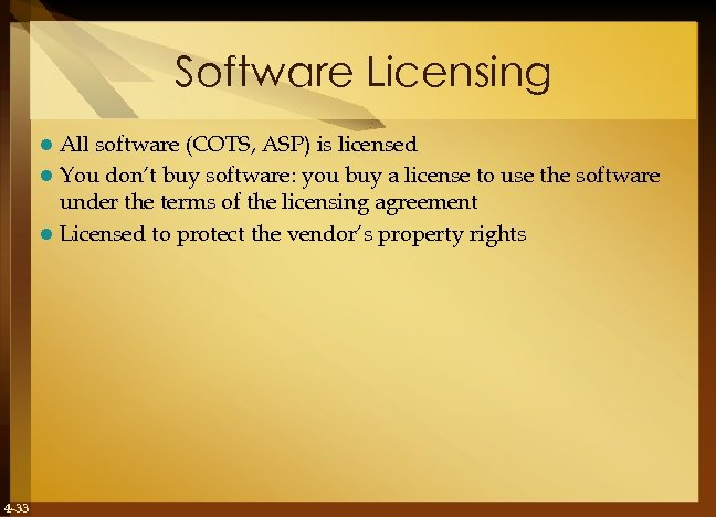 Software Licensing All software (COTS, ASP) is licensed l You don't buy software: you