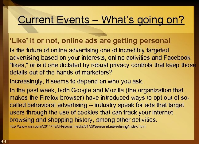 Current Events – What's going on? 'Like' it or not, online ads are getting