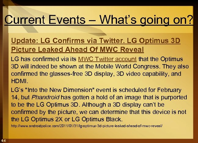 Current Events – What's going on? Update: LG Confirms via Twitter. LG Optimus 3