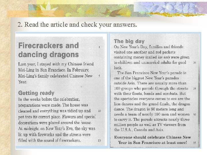 2. Read the article and check your answers.