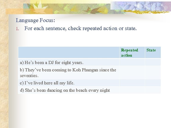 Language Focus: 1. For each sentence, check repeated action or state. Repeated action a)