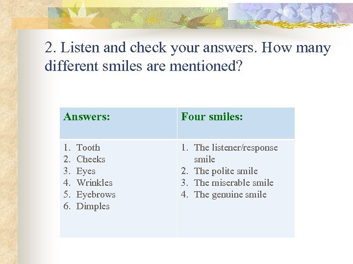 2. Listen and check your answers. How many different smiles are mentioned? Answers: Four