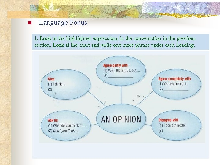 n Language Focus 1. Look at the highlighted expressions in the conversation in the