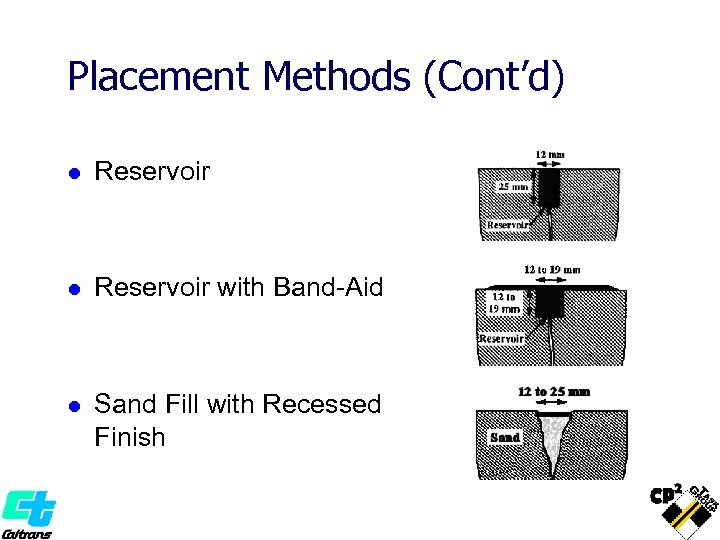 Placement Methods (Cont'd) l Reservoir with Band-Aid l Sand Fill with Recessed Finish